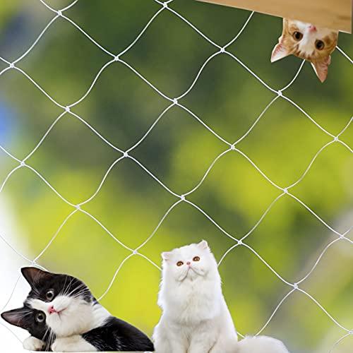 Parain Katzennetz für Balkon Fenster Drahtverstärkt Katzenschutznetz Robustes Schutznetz, Weiß, 4 * 3m