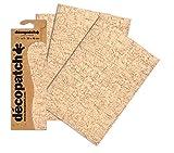 Decopatch - Carta da decoupage in Fogli da 395 x 298 mm, Finitura cracklé, Confezione da 3 Fogli, Colore Beige e Marrone