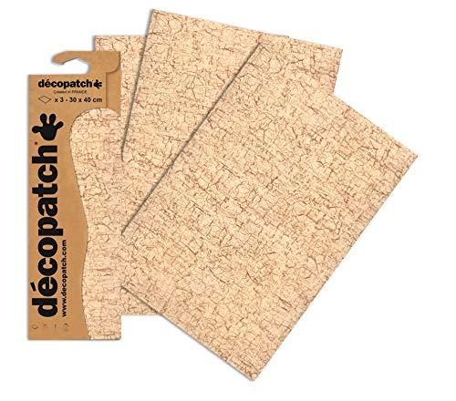 Decopatch Papel Decorativo Agrietado Acabado 395 x 298 mm, 3 Unidades, Beige/marrón