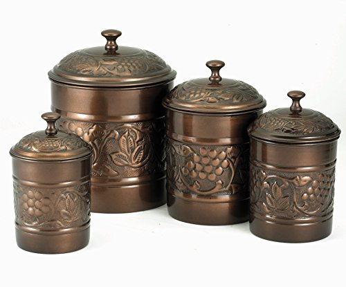Old Dutch Antique Copper Heritage Canister Set - 4 Piece Set