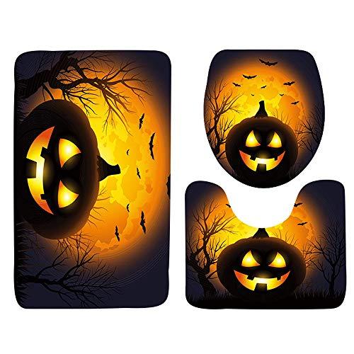VEMOW Heißer Halloween Schwarze Katze WC Sitzbezug und Teppich Badezimmer Set Halloween Decor(A, 45cmX37.5cm(Tankdeckel))