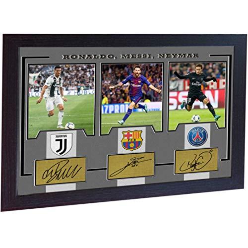 SGH SERVICES Gerahmtes Poster Neymar Messi Ronaldo Juventus Autogramm Foto Vordruck Foto Druck gerahmt MDF Rahmen Fotodruck
