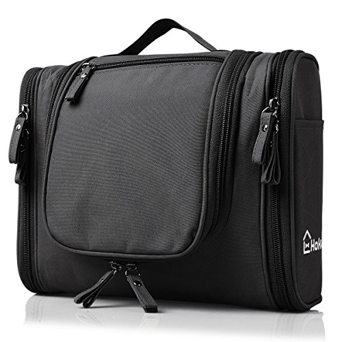 Heavy Duty Waterproof Hanging Toiletry Bag - Travel Cosmetic Makeup Bag for Women & Shaving Kit Organizer Bag for Men - Large Size: 10.2 x 4.5 x 8.5 Inch (Black)