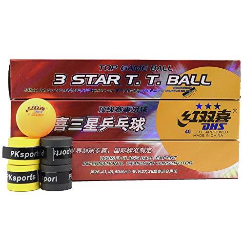 DHS 3-Sterne 40mm 18Pack Tischtennisbälle + 4 Overgrip, PingPong Bälle, Weltklasse Ball Expert International Standard Constituutor