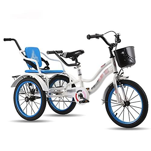 Triciclo per Adulti 16in Bambini Triciclo Alto Cornice In Acciaio Al Carbonio Ragazzi Ragazze Biciclette A Tre Ruote Con Braccioli E Manico Carrello Posteriore, Per Bambini Cruise Bycles P(Color:Blue)