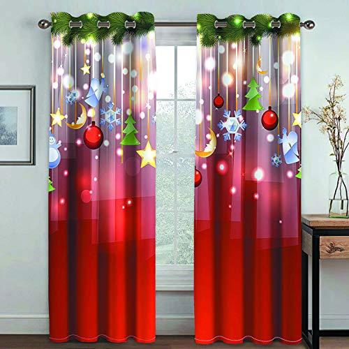 MMHJS Campanas De Navidad En 3D, Cortinas Impresas, Artículos para El Hogar, Decoraciones De Pared, Persianas Verticales para Dormitorio Y Sala De Estar (2 Piezas)