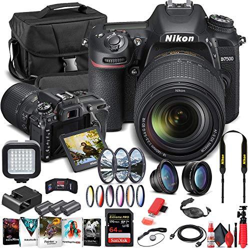 Nikon D7500 DSLR Camera with 18-140mm Lens (1582) + 64GB Memory Card + Case + Corel Photo Software + 2 x EN-EL 15 Battery + Card Reader + LED Light + Filter Kit + Wide Angle Lens + More (Renewed)