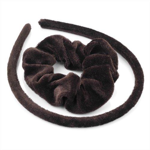 Set Cheveux – Marron en velours Tissu recouvert de Alice bande cheveux et Chouchou