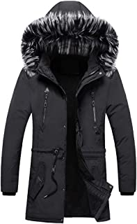 IZHH Mens Parka Coat with Hood Slim Down Jacket Zip Hoodie Trench Coat Outwear