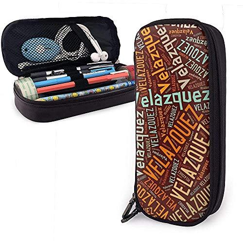 Velázquez - Estuche de lápices de cuero de gran capacidad con apellido americano, sostenedor de papelería de bolígrafo Organizador de caja de bolsa de almacenamiento grande