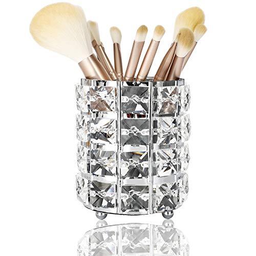 DARUITE Cristal Porte-pinceaux de Maquillage cosmétiques Organisateur Makeup Organizer Salle de Bain Pot à Pinceau Maquillage Stockage,Argent