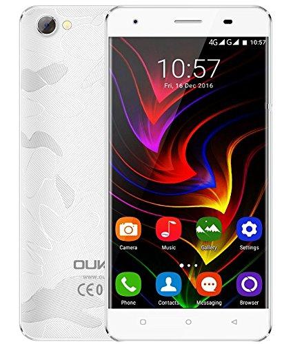 OUKITEL C5 Pro - 5.0 pollici 4G Android 6.0 Smartphone Telaio in lega di zinco MTK6737 Quad Core a 1,3 GHz 2 GB di RAM 16GB ROM doppia fotocamera Dual SIM Anti-tormentone - bianca