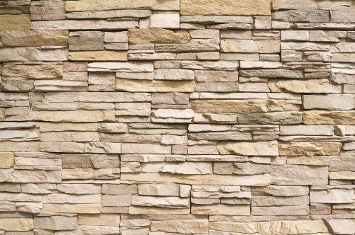 Stonewall / Muro di pietra FOTOMURALE - Asian Stonewall beige marrone – XXL quadro tappezzeria da parete /pietre decorazione da parete GREAT ART 140 cm x 100 cm