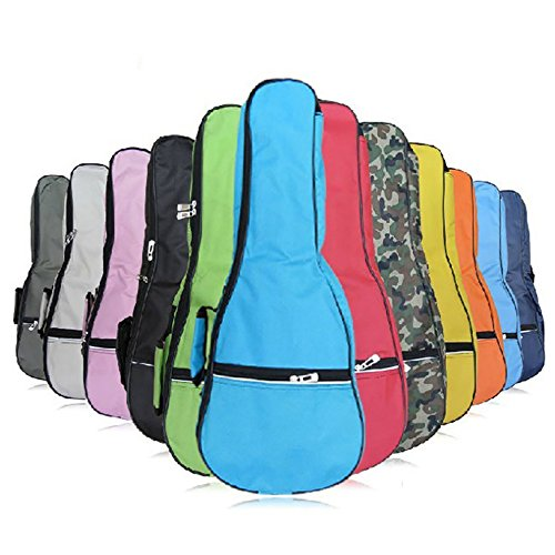 HOT SEAL Waterproof Durable Colorful Ukulele Cotton Case Bag with Storage (21in, green)