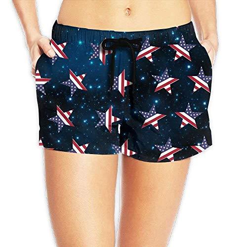 Vintage Flag of American Stars and Stripes Pattern Women Summer Casual High Waist Beach Shorts - XXL