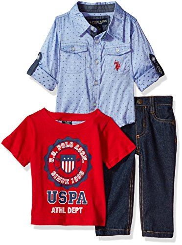 U.S. Polo Assn. Baby Boys' Sport Shirt, Creeper and Pant Set, 0679-Multi Plaid, 18M