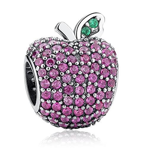 LIJIAN S925 Plata De Ley Rosa Cristal Apple Versión Adecuada para Damas Original Pandora Pulsera Colgante Cuentas DIY Joyería Regalos