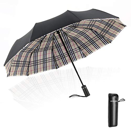 Auto Windproof Umbrella with 10 Ribs and Double Layers, Compact Folding Travel Umbrella with Leather Cover for Men&Women - Perfect for Travel, Rain or Storms (Plaid)