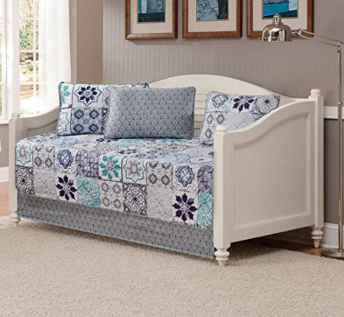 Mk Home 5pc Daybed Set Oversized Quilted Bedspread Coverlet Floral Pattern White Grey Blue New