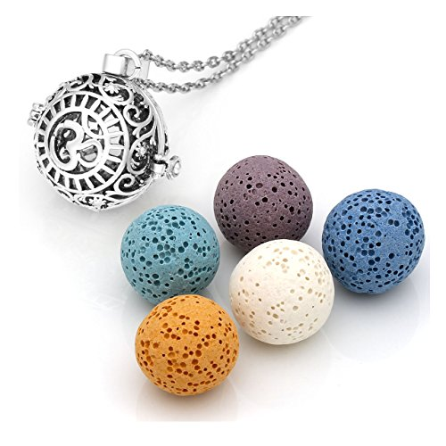 JOVIVI Aromatherapy Essential Oil Diffuser Necklace Antique Silver Plated Chakra Locket Pendant + 5 Lava Rock Stone Beads w/Box