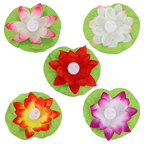Yardwe 5 piezas LED flotante Lotus Light Silk Cloth Decorativo Lotus Lámpara Flotante Agua Linterna Lirio Flor Luz Budista Ornamento para Festival Piscina Estanque Color Mezclado