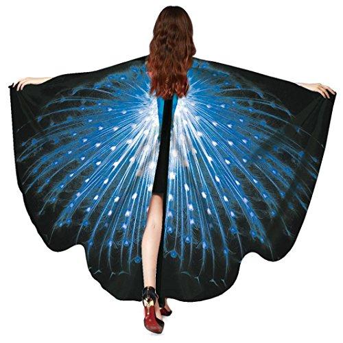 TUDUZ Frauen Pfau Flügel Schmetterling Schals Damen Nymphe Pixie Poncho Cosplay Kostüm Zubehör für Party 168 * 135CM (Blau-A)