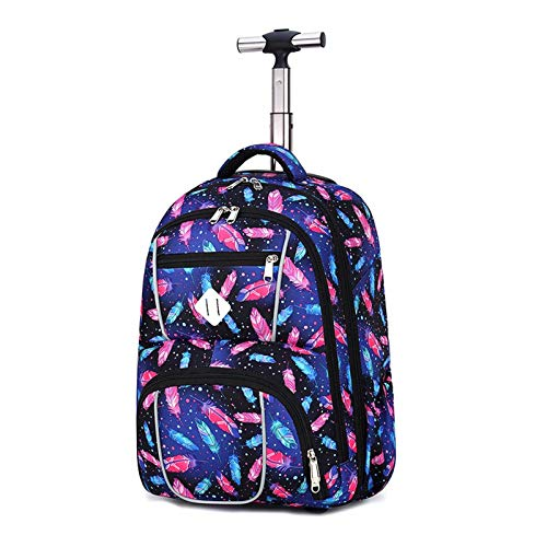 Trolley Backpack Travel Suitcase, Creative Starry Sky Elementary School Backpack Book, Youth Travel Cabin Suitcase, Great Birthday Gift for Young People (Color : D)