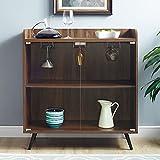 WE Furniture Bar Cabinet w/Storage & Stemware Rack, 38' H x 16' W x 30' L, Dark Walnut