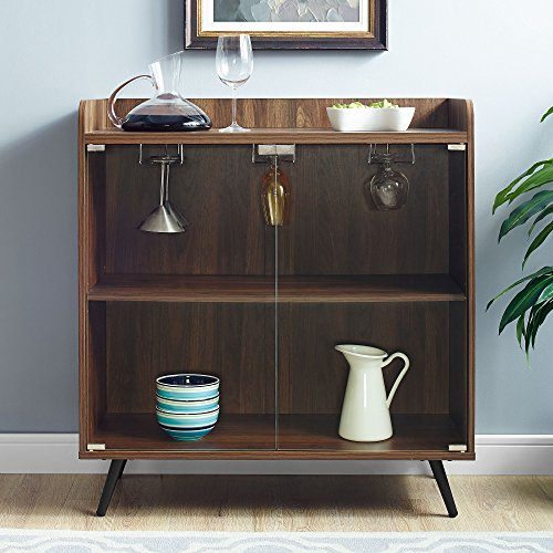 "WE Furniture Mid Century Modern Bar Cabinet w/Storage & Stemware Rack, 38"" H x 16"" W x 30"" L, Dark Walnut"