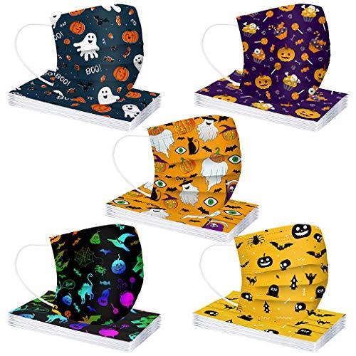 MaNMaNing Niños Protección 3 Capas Transpirables con Elástico para Los Oídos Pack 50 unidades 20200903-MANING-HL50 (Halloween 1)