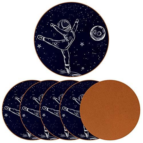 BENNIGIRY Astronauta en una Pose de Ballet Posavasos de Cuero Tapetes Redondos Resistentes al Calor para Tazas Taza de café Tapetes Individuales para Tazas de Vidrio, 6 Piezas
