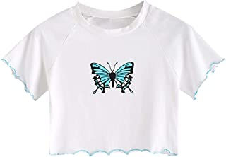 ZAFUL Women's Basic Crop Tops Short Sleeve Scoop Neck T Shirt