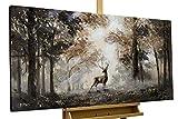 KunstLoft Acryl Gemälde 'Stag in The Brume' 120x60cm | original handgemalte Leinwand Bilder XXL | Tier Hirsch Natur Wald | Wandbild Acryl Bild Moderne Kunst einteilig mit Rahmen