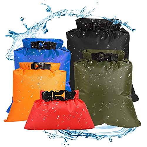 Waterproof Pouch, Fairylove 1.5L+2.5L+3.5L+4.5L+6L 5 Pcs Dry Bags Waterproof Set Stuff Sack Waterproof Dry Bag Storage Pouch Bag Outdoor Beach Sack Travel Rafting Drifting Swimming Snorkeling Bag