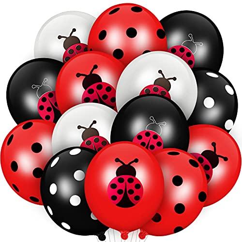 48 Stücke Marienkäfer Luftballons 12 Zoll Latex Ballons Schwarz Weiß Tupfen Luftballons Party Zubehör für Marienkäfer Geburtstag Party Jungen Mädchen Dschungel Thema Geburtstag Dekoration