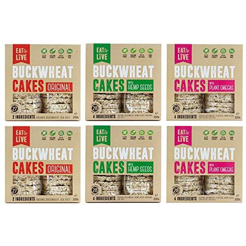 BUCKWHEAT CAKES Gluten Free, Grain Free, Low Carb, Vegan, Sugar Free, Rice Free. NEW Healthy Bread Alternative, Crackers, Snacks (2 Original, 2 Hemp, 2 Plant Omegas)