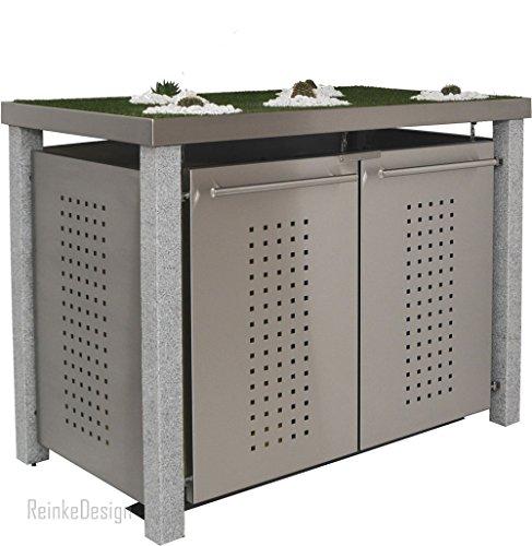 Mülltonnenbox aus Edelstahl mit Granitpfosten 8x8cm (2X 120l mit Pflanzwanne und F-Design)