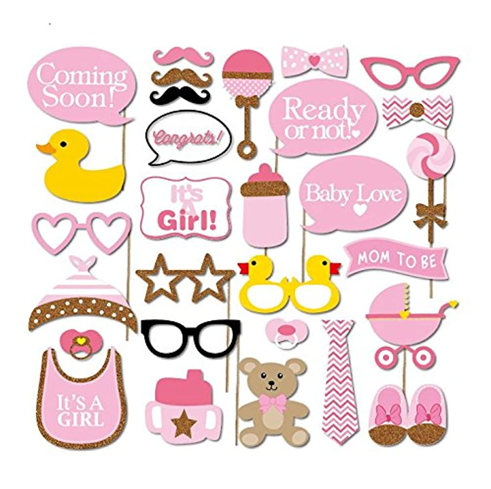 iBuy365 It's A Girl Baby Shower Decoration Party Pink Photo Booth Props Kits Bottle Masks on Sticks Set of 29pcs