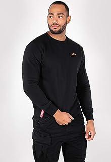 ALPHA INDUSTRIES Men's Basic Sweater Small Logo Sweatshirt, Negro, 37.13 Black