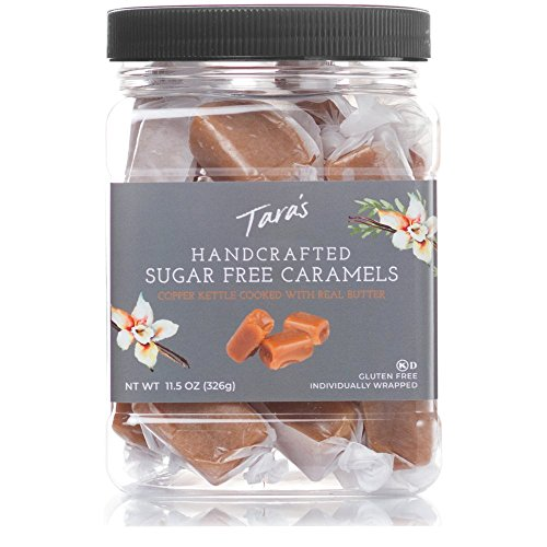 Taras All Natural Handcrafted Gourmet Caramel: Small Batch, Kettle Cooked, Creamy & Individually Wrapped - Sugar Free, 11.5 Oz