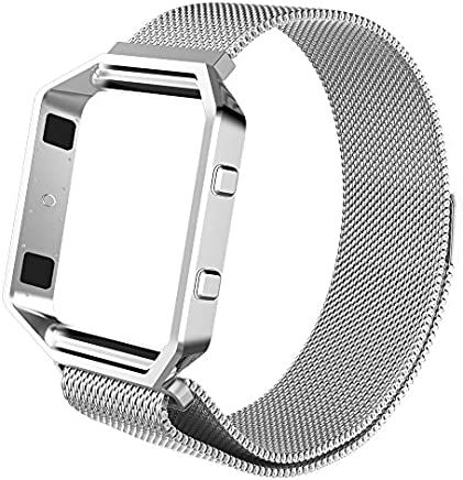 """FINTIE for Fitbit Blaze Strap with Frame (5.90""""-10.23"""" inch)- [Unique Magnet Lock] Adjustable Metal Loop Stainless Steel Replacement Bracelet Wristband Straps for Fitbit Blaze, Silver"""
