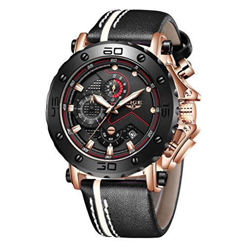 LIGE Herren Chronograph Wasserdicht Leder Armband Sport Analog Quarz Uhr Männer Großes Gesicht Datum Mode Casual Uhren Roségold Schwarz