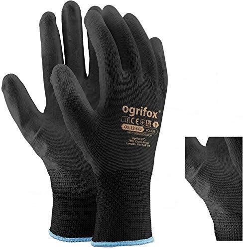 24pares de guantes de trabajo de nailon negro revestidos de poliuretano Para jardinería, construcción y mecánica, con adhesivo redondo AJS LTD® (L-9).