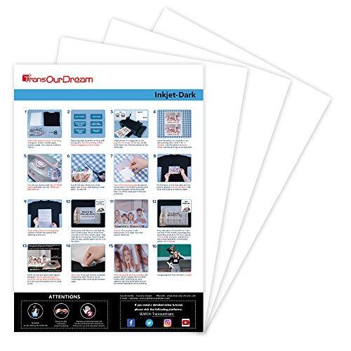 TransOurDream Real - Papel de Transferencia Fácil de Usar.Inyección de Tinta Oscuro Suave(A4x20 Hojas) Papel de Transferencia Térmica Para Camisetas Oscuras Impresora Para Camisetas, ES-3-20