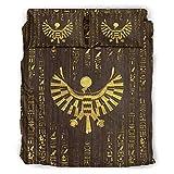 Annlotte Juego de sábanas de 4 piezas, diseño egipcio, color dorado, ligero, resistente a las manchas, para el hogar, dormitorio, 228 x 264 cm