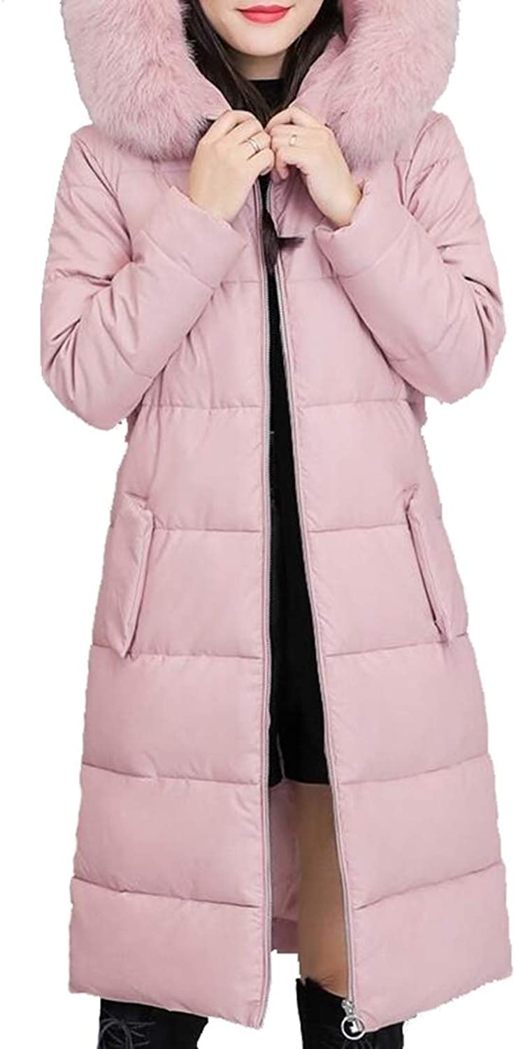 Gocgt Women Puffer Long Coat with Faux Fur Trim Hood Thicker Down Jacket Coat