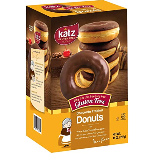 Katz Gluten Free Chocolate Frosted Donuts | Dairy Free, Nut Free, Soy Free, Gluten Free | Kosher (1 Pack of 6 Donuts, 14 Ounce)