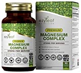 Ezyleaf Complejo de Magnesio Premium | 90 Capsulas de Magnesio con Glicinato de Magnesio, Malato de Magnesio y Citrato de Magnesio | 375mg de Magnesio Activo por Porción | Sin OGM, Gluten ni Lácteos