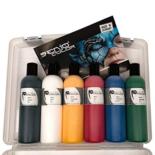Bodypainting Farbe Senjo Color BASIC 6x 250ml Set im Koffer