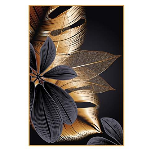 DFSDG Luxus Blumen des goldenen Blatt-Monstera-Kunst-Malerei-Plakats auf Leinwand für Wanddekoration im Wohnzimmerbüro gedruckt (Color : Style 3, Size : 30X45cm Frameless)